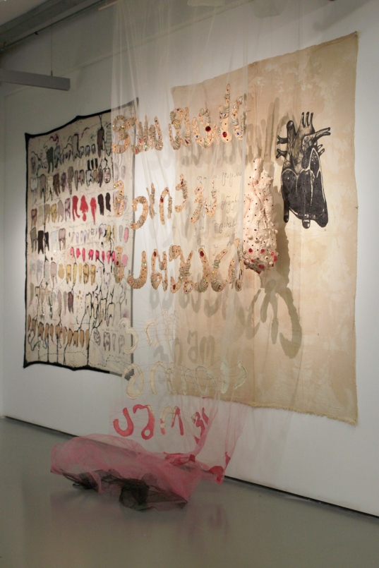 Uta Bekaia, Fuasia Tatasia, 2014/15. mixed media installation, detail. Two embroidered, painted and rhine stoned tapestries, fabric sculpture with rhinestones, Tulle with appliqué and rhine stones, 210 x 340 x 50 cm.